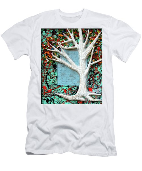 Men's T-Shirt (Slim Fit) featuring the painting Spring Serenade With Tree by Genevieve Esson