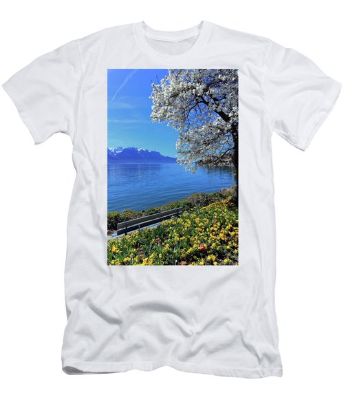 Springtime At Geneva Or Leman Lake, Montreux, Switzerland Men's T-Shirt (Slim Fit) by Elenarts - Elena Duvernay photo