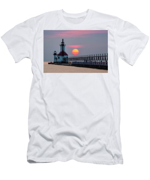 Men's T-Shirt (Athletic Fit) featuring the photograph St. Joseph Lighthouse At Sunset by Adam Romanowicz