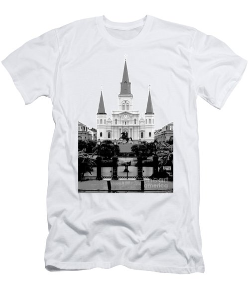 St Louis Cathedral On Jackson Square In The French Quarter New Orleans Conte Crayon Digital Art Men's T-Shirt (Athletic Fit)