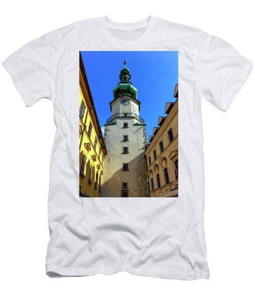 St Michael's Tower In The Old City, Bratislava, Slovakia, Europe Men's T-Shirt (Slim Fit) by Elenarts - Elena Duvernay photo