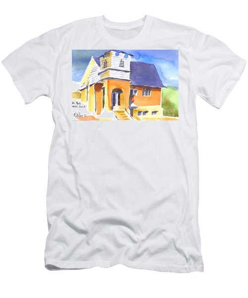 Men's T-Shirt (Slim Fit) featuring the painting St Paul Lutheran 3 by Kip DeVore
