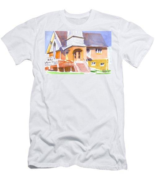 Men's T-Shirt (Slim Fit) featuring the painting St. Paul Lutheran Ironton Missouri by Kip DeVore