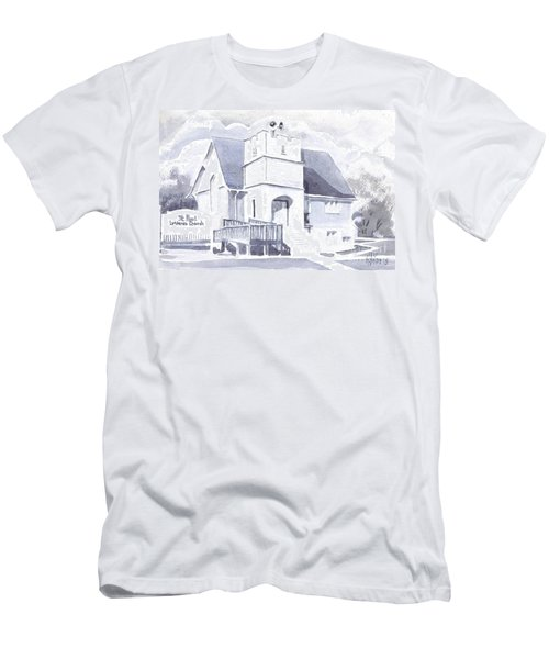 Men's T-Shirt (Slim Fit) featuring the painting St. Paul Lutheran Church 2 by Kip DeVore