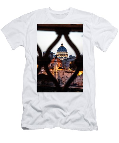 Men's T-Shirt (Slim Fit) featuring the photograph St. Peter's Basilica From The St. Angelo Bridge by Jean Haynes
