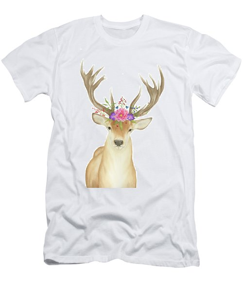 Men's T-Shirt (Slim Fit) featuring the painting Stag Watercolor  by Taylan Apukovska