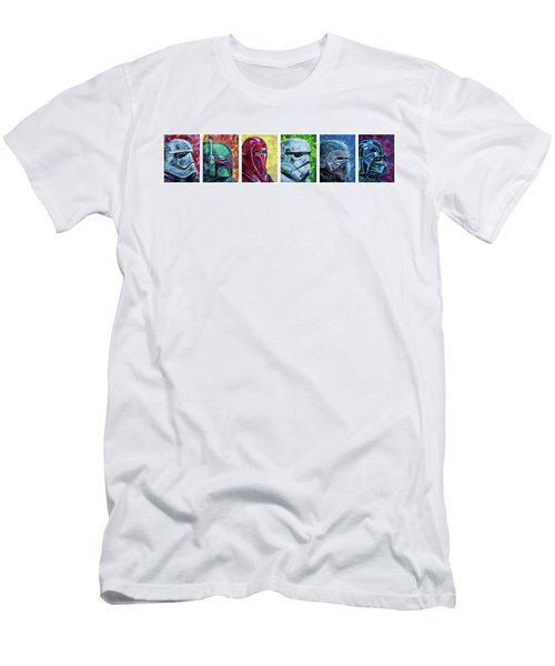 Men's T-Shirt (Athletic Fit) featuring the painting Star Wars Helmet Series - Panorama by Aaron Spong