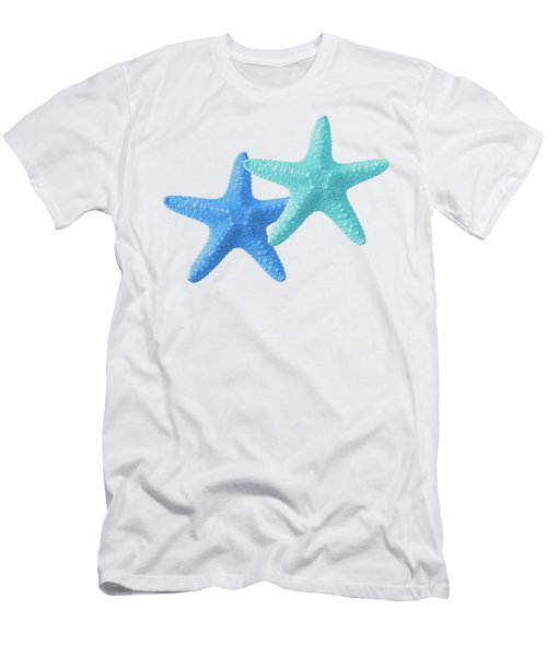 Starfish Blue And Turquoise On White Men's T-Shirt (Athletic Fit)