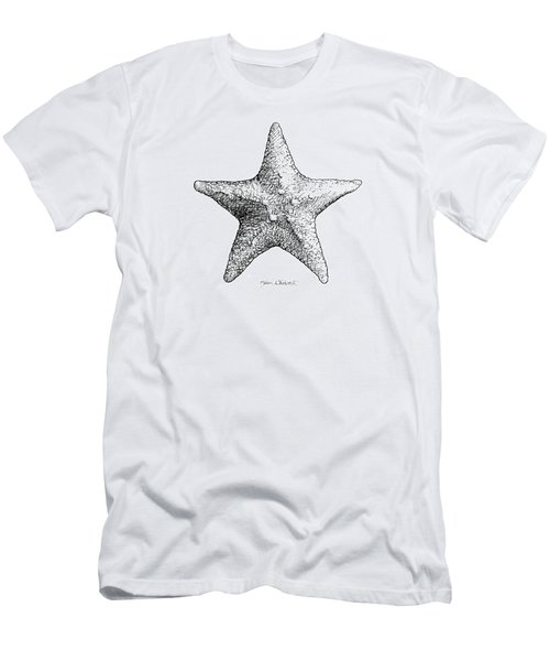 Men's T-Shirt (Slim Fit) featuring the drawing Starfish Drawing Black And White Sea Star by Karen Whitworth