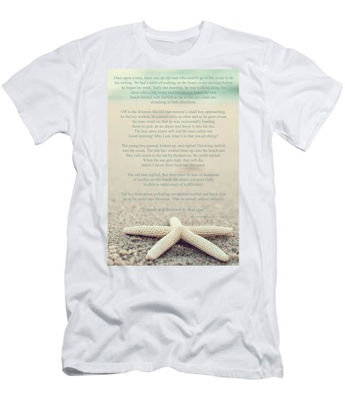 Starfish Make A Difference Vintage Set 1 Men's T-Shirt (Slim Fit) by Terry DeLuco