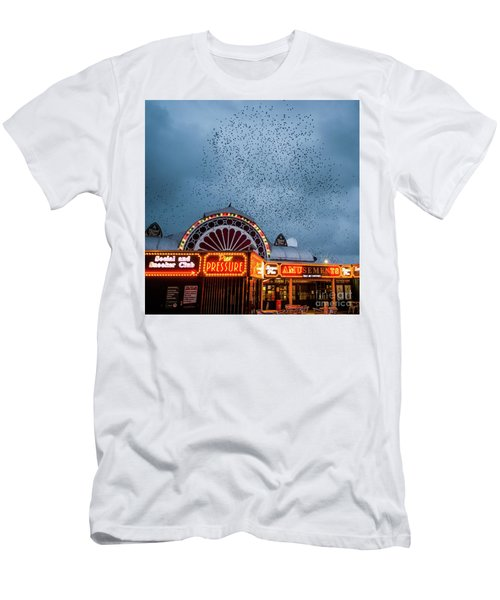 Starlings Over The Neon Lights Of Aberystwyth Pier Men's T-Shirt (Athletic Fit)