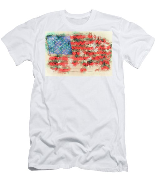Stars And Stripes Watercolor Men's T-Shirt (Athletic Fit)