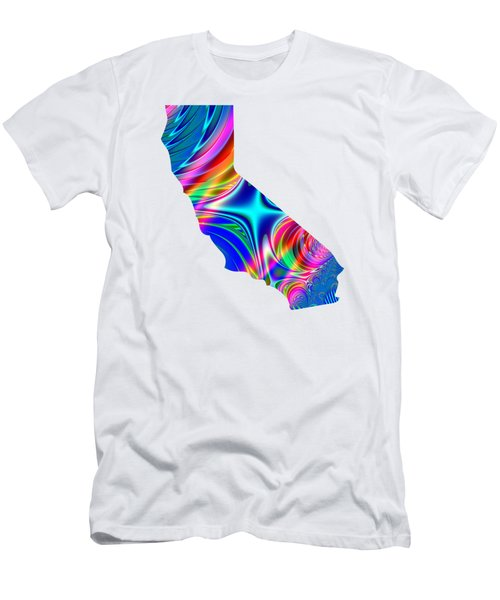 State Of California Map Rainbow Splash Fractal Men's T-Shirt (Athletic Fit)