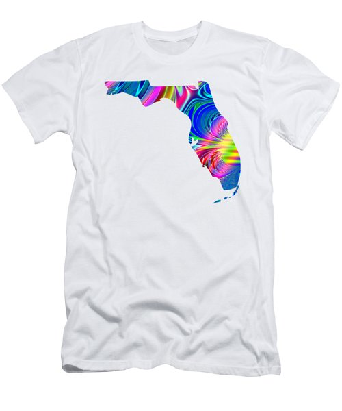 State Of Florida Map Rainbow Splash Fractal Men's T-Shirt (Athletic Fit)
