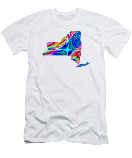 State Of New York Map Rainbow Splash Fractal Men's T-Shirt (Athletic Fit)