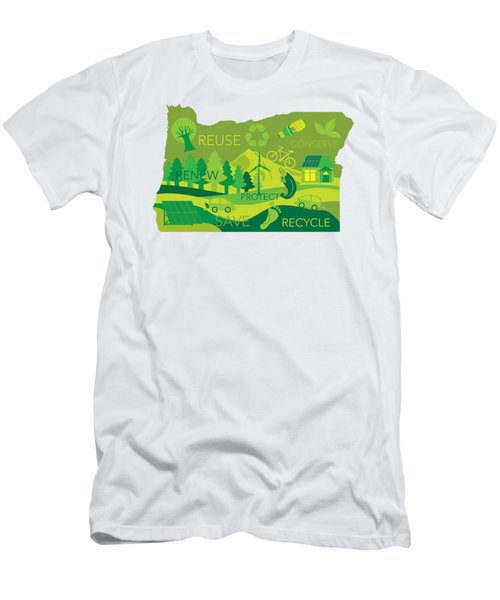 State Of Oregon Map Environment Eco Outline Men's T-Shirt (Slim Fit)
