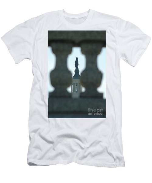 Statue Of Freedom Through Railing Men's T-Shirt (Athletic Fit)