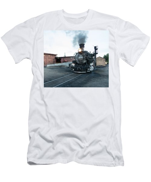 Men's T-Shirt (Slim Fit) featuring the photograph Steam Locomotive In The Train Yard Of The Durango And Silverton Narrow Gauge Railroad In Durango by Carol M Highsmith