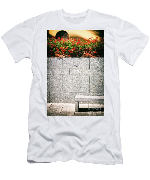 Men's T-Shirt (Slim Fit) featuring the photograph Stone Bench With Flowers by Silvia Ganora