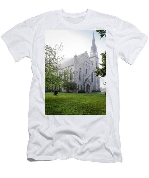 Stone Chapel In Fog Men's T-Shirt (Athletic Fit)
