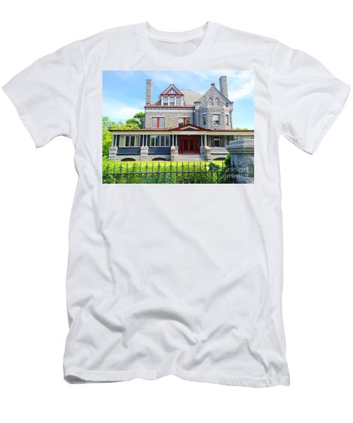 Men's T-Shirt (Slim Fit) featuring the photograph Stone Mansion Red Doors by Becky Lupe