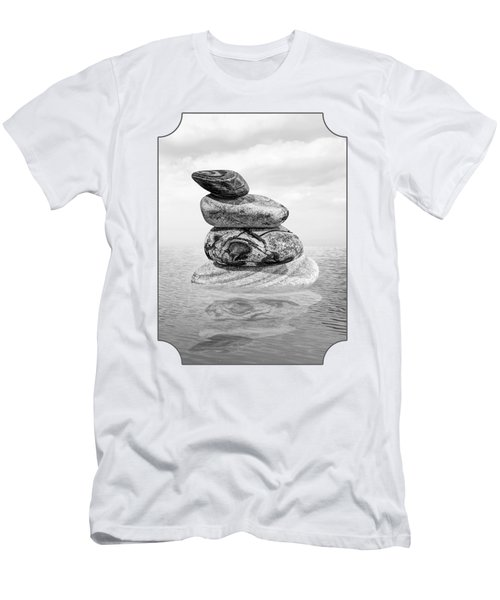Stones In Water Black And White Men's T-Shirt (Athletic Fit)