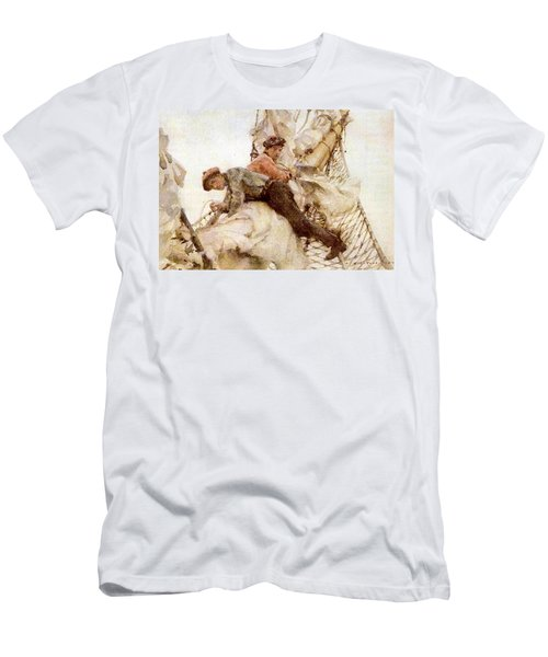 Men's T-Shirt (Slim Fit) featuring the painting Stowing The Headsails  by Henry Scott Tuke
