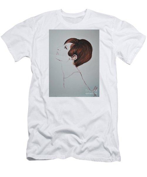 Men's T-Shirt (Slim Fit) featuring the drawing Barbra Streisand by Maja Sokolowska