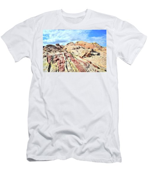 Stripes Of Valley Of Fire Men's T-Shirt (Slim Fit) by Ray Mathis