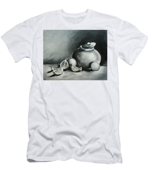 Study Of Lemons, Oranges And Covered Jug In Black And White Men's T-Shirt (Athletic Fit)
