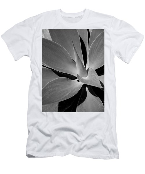 Men's T-Shirt (Slim Fit) featuring the photograph Succulent In Black And White by Karen Nicholson