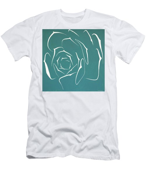 Men's T-Shirt (Slim Fit) featuring the painting Succulent In Turquoise by Ben Gertsberg