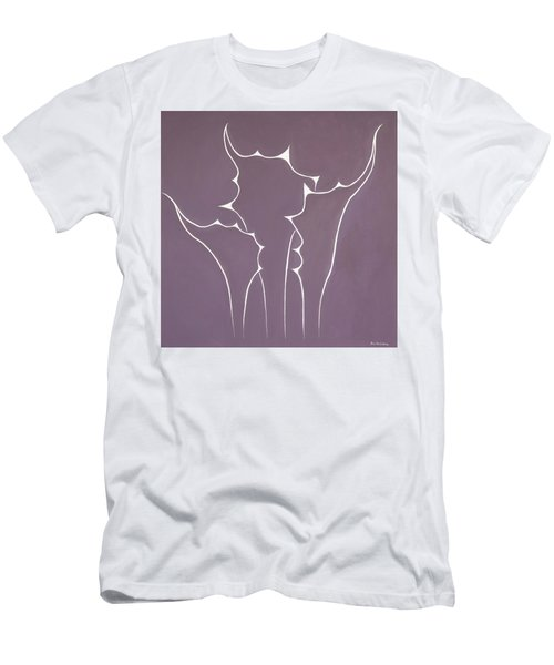 Men's T-Shirt (Slim Fit) featuring the painting Succulent In Violet by Ben Gertsberg