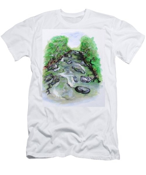 Men's T-Shirt (Athletic Fit) featuring the painting Sugar Creek, Boyhood Memory by Clyde J Kell