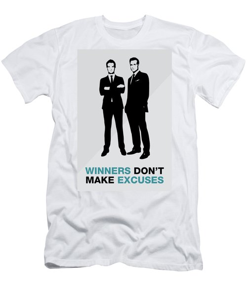 Suits Tv Show Poster Harvey Quote - Winners Don't Make Excuses Men's T-Shirt (Athletic Fit)