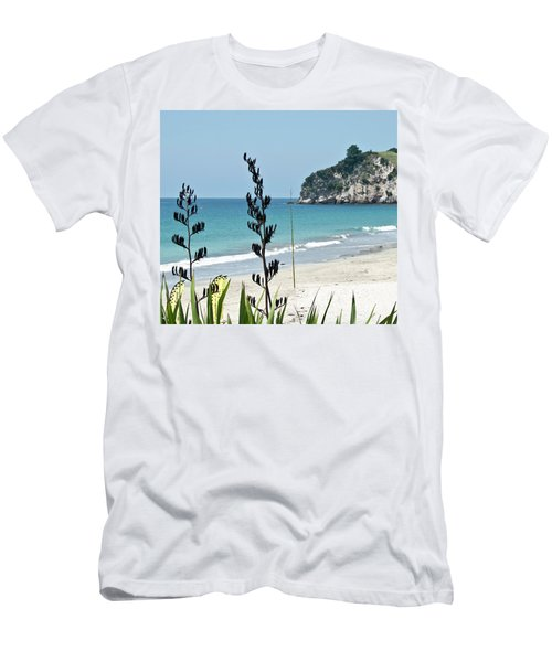 Men's T-Shirt (Slim Fit) featuring the photograph Summer New Zealand Beach by Yurix Sardinelly