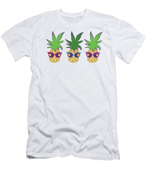 Summer Pineapples Wearing Retro Sunglasses Men's T-Shirt (Athletic Fit)