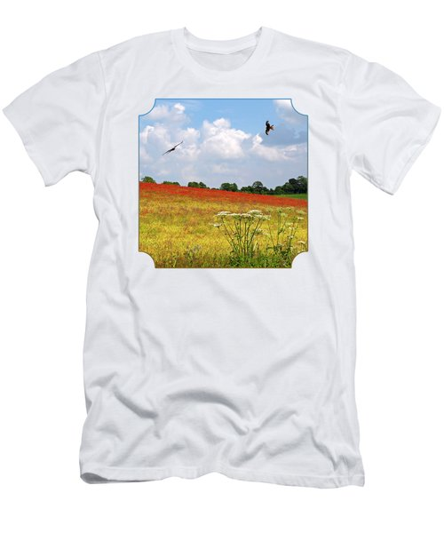 Summer Spectacular - Red Kites Over Poppy Fields - Square Men's T-Shirt (Athletic Fit)