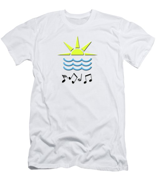 Men's T-Shirt (Slim Fit) featuring the digital art Sun, Sea And Music by Linda Prewer