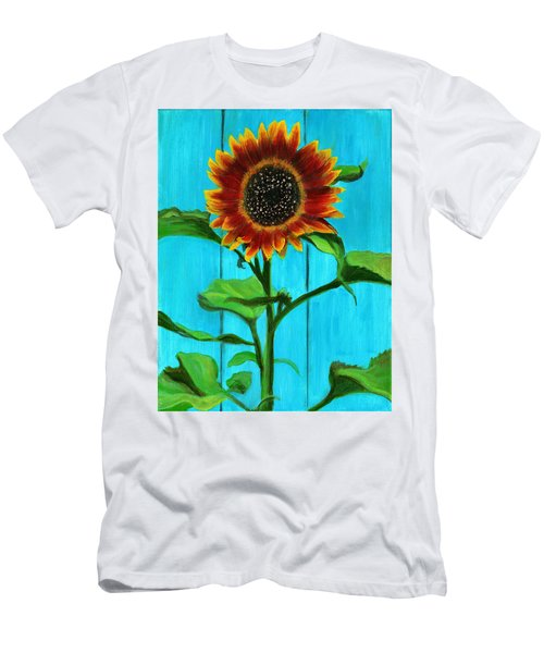 Sunflower On Blue Men's T-Shirt (Athletic Fit)