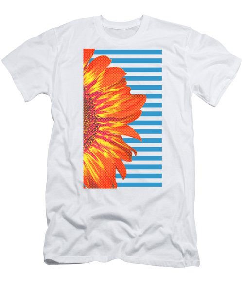 Sunflower On Blue Stripes Men's T-Shirt (Athletic Fit)