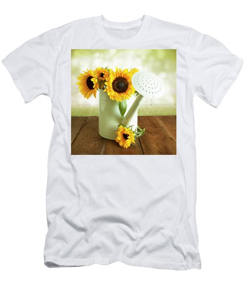 Sunflowers In An Old Watering Can Men's T-Shirt (Athletic Fit)