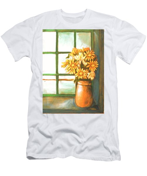 Men's T-Shirt (Slim Fit) featuring the painting Sunflowers In Window by Winsome Gunning