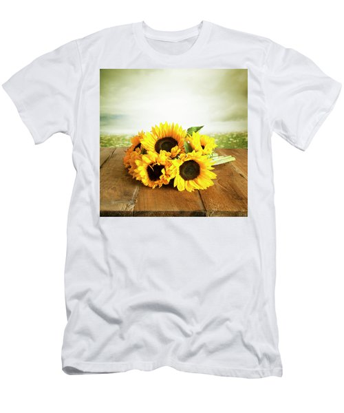 Sunflowers On A Table Men's T-Shirt (Athletic Fit)