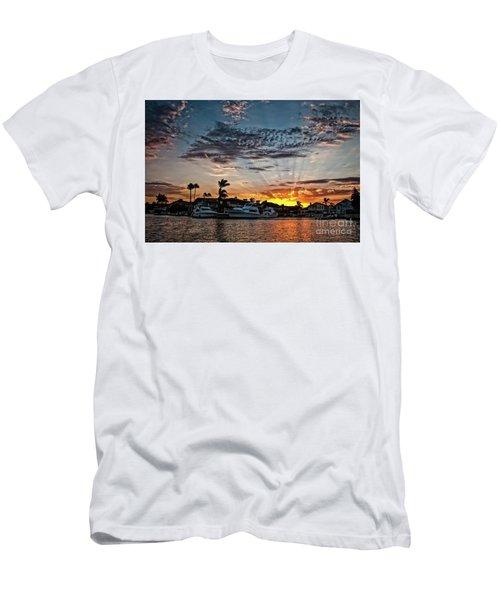 Sunrays Over Huntington Harbour Men's T-Shirt (Slim Fit) by Peter Dang
