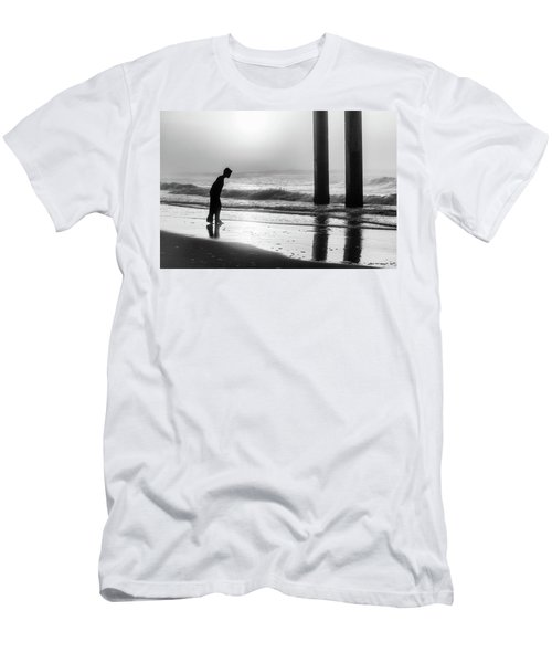 Men's T-Shirt (Slim Fit) featuring the photograph Sunrise Boy In Foggy Beach by John McGraw