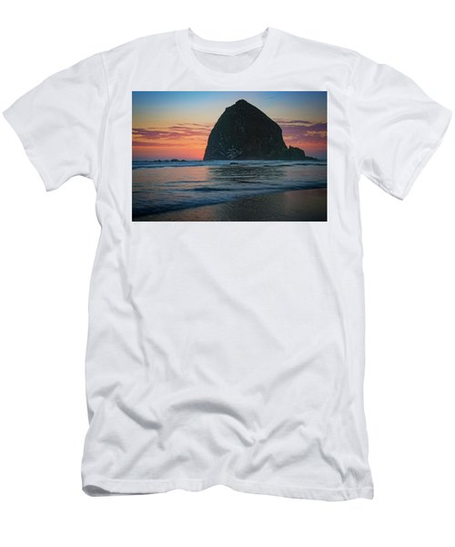 Men's T-Shirt (Slim Fit) featuring the photograph Sunset At Haystack Rock by Rick Berk
