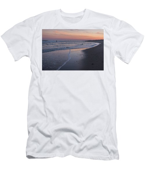 Men's T-Shirt (Slim Fit) featuring the photograph Sunset Fishing Seaside Park Nj by Terry DeLuco