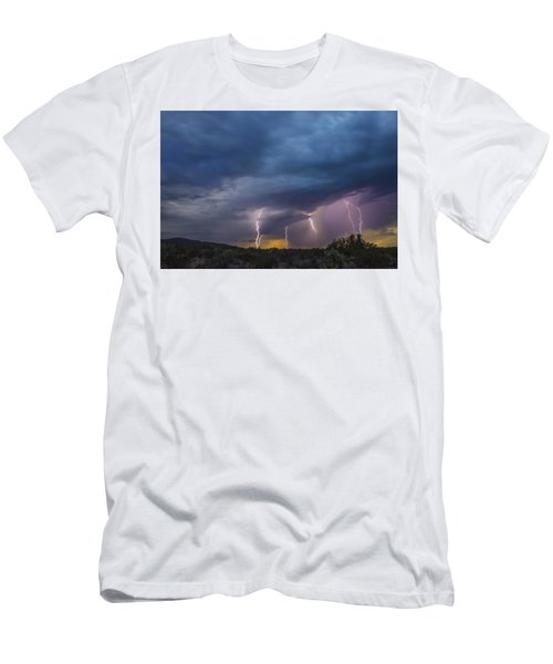 Sunset Lightning Men's T-Shirt (Slim Fit) by Kathy Adams Clark