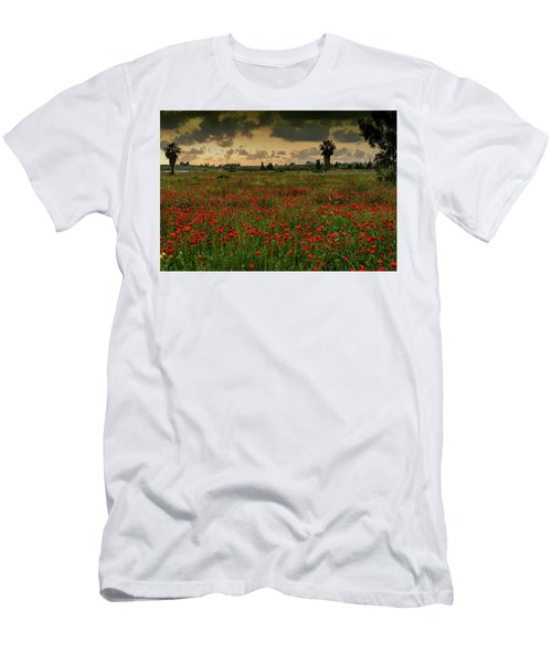 Sunset On A Poppies Field Men's T-Shirt (Athletic Fit)